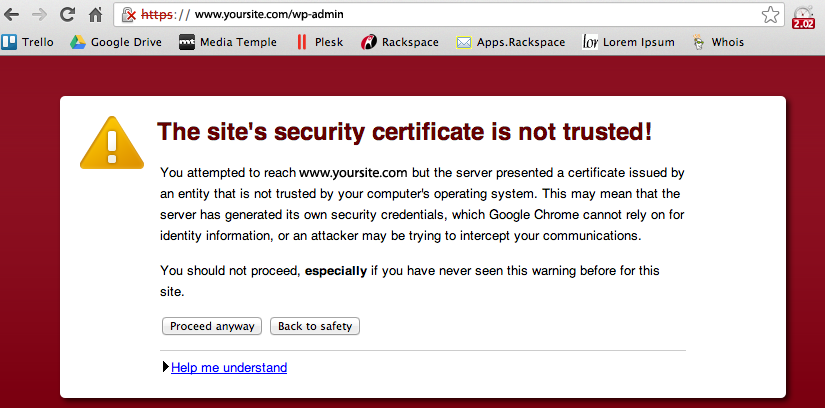 An uns-signed SSL